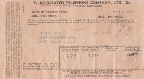 bill 1933.07 telephone co