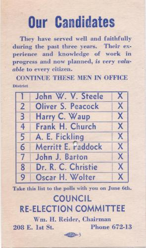 card 1933 council committee candidates