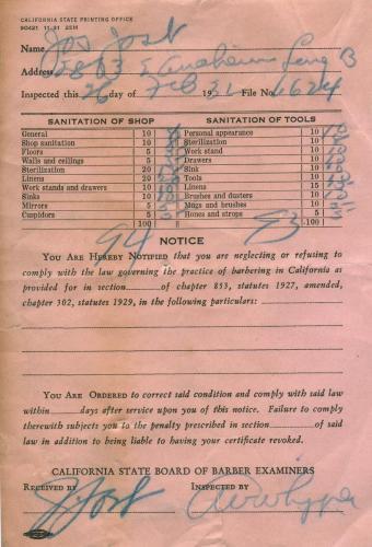 certificate 1932.02 board of barbers examiners
