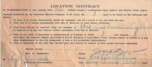 contract 1933 cigar lighter electric vlock