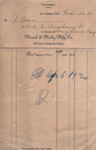 invoice 1932.02 mesick  mahy mfg