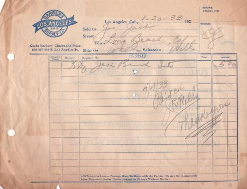 invoice 1933.01 barbers supply co