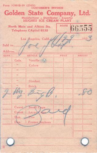 invoice 1933.04 ice cream. co