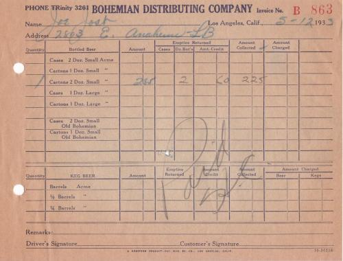 invoice 1933.05 bohemian distributing co