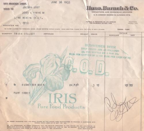 invoice 1933.06 haas baruch  co 2