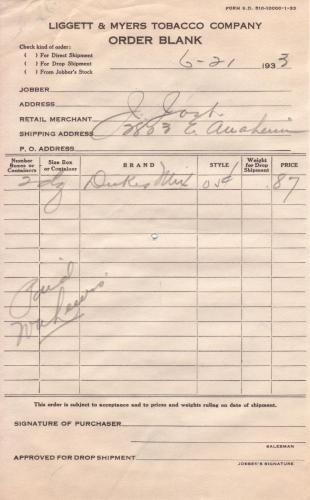 invoice 1933.06 liggettmayers tabacco co