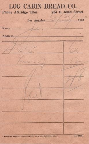 invoice 1933.06 log cabin bread co