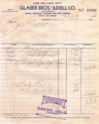 invoice 1933.07 glasser bros