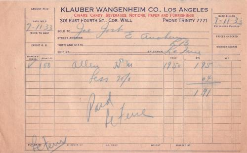 invoice 1933.07 klauber wangenheim co