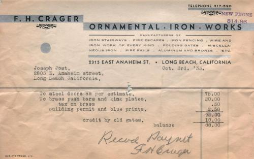 invoice 1933.10 crager ornamental co