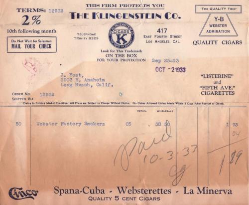 invoice 1933.10 klingenstein co