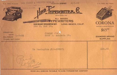 receipt 1933.01 type writer