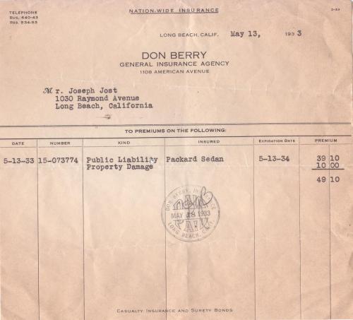 receipt 1933.05 insurance agency