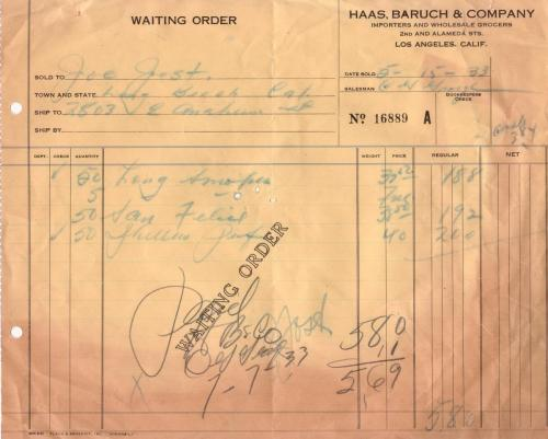 waiting order 1933.05 haas baruch co